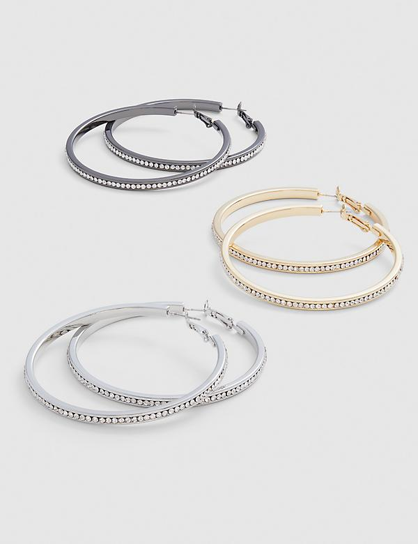 Mixed-Metal Pave Hoop Earrings - 3-Pack