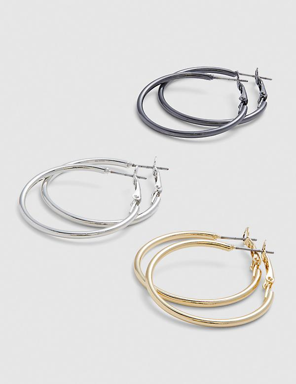 Mixed Metal Hoop Earrings - 3-Pack