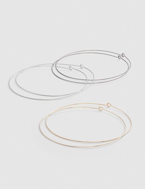Mixed Metal Large Threader Hoop Earrings - 3-Pack