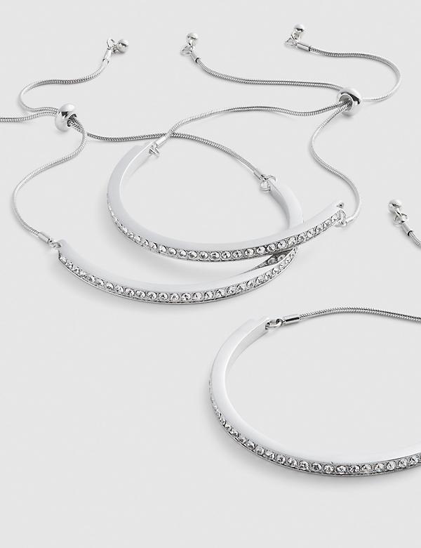 3-Row Pave Adjustable Bracelet Set