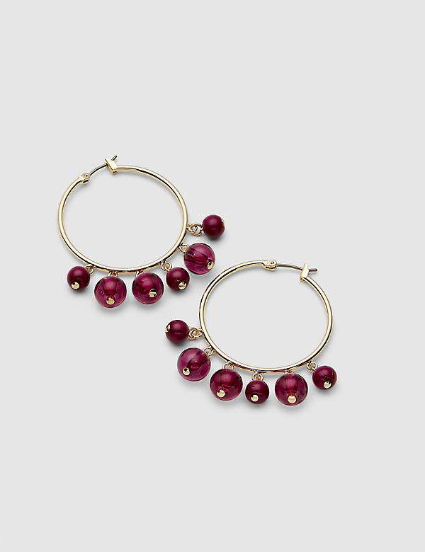Beaded Hoop Earrings - Fuchsia