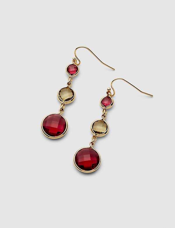 Triple Stone Drop Earrings - Pink & Olive