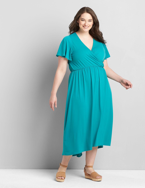 Lane Bryant Women's Flutter-Sleeve High-Low Midi Dress 10/12 Tropical Teal
