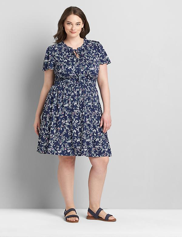 Flutter-Sleeve Shirred-Waist Fit & Flare Dress
