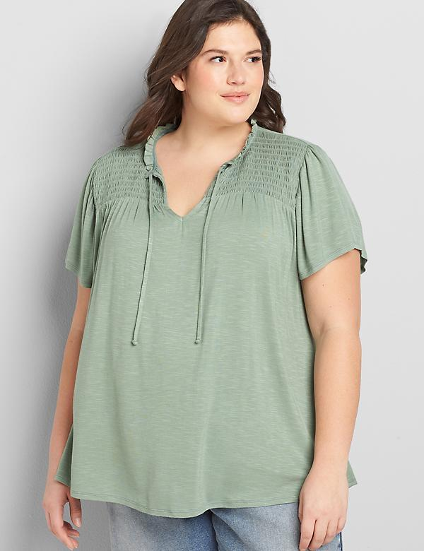 Shirred Flutter-Sleeve Swing Top
