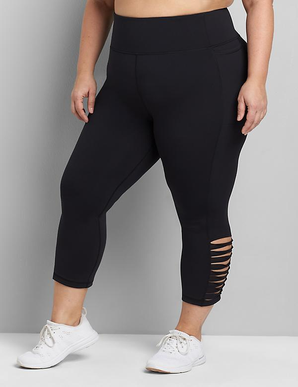LIVI Capri Power Legging With Wicking - Strappy Mesh Hem