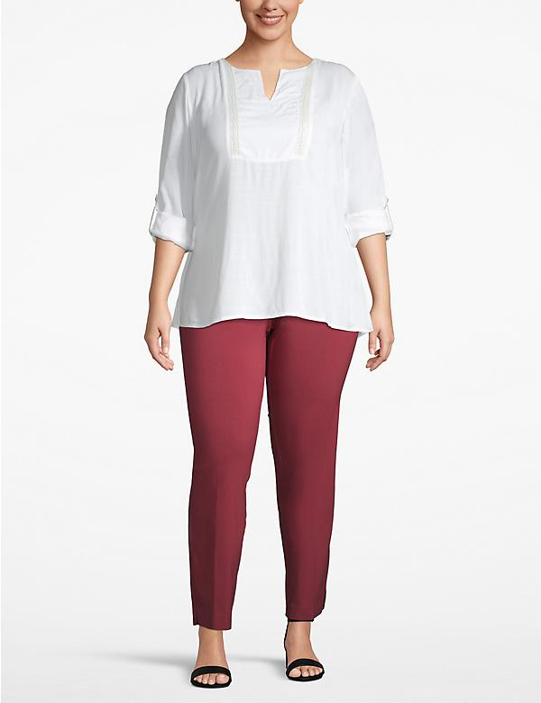 Effortless Chic Rolled-Sleeve Popover Top