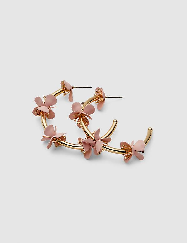 Pink Floral Cluster Hoop Earrings