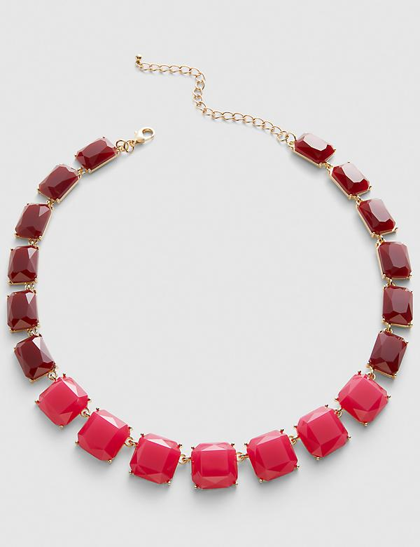 Faceted Stone Necklace - Fuchsia