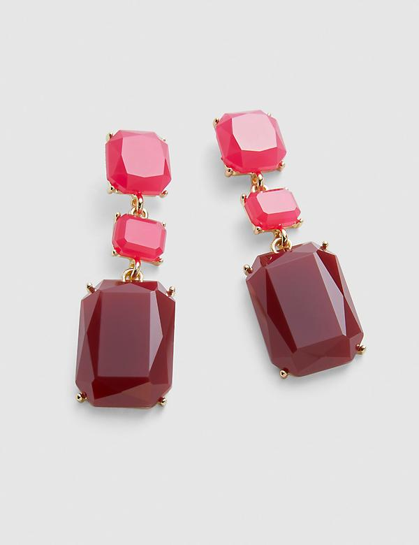 Ombre Faceted Stone Drop Earrings - Fuchsia