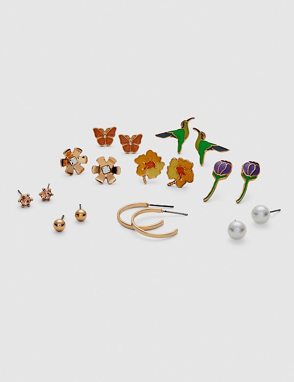 Flower Studs & Hoop Earrings - 9-Pack