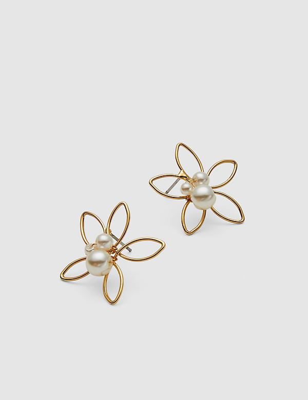 Faux-Pearl Floral Stud Earrings
