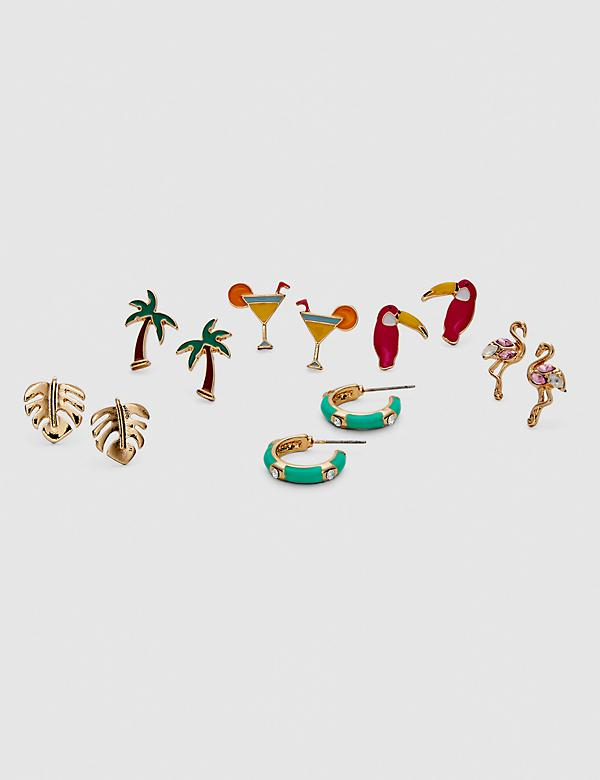 Tropical Vibes Stud Earrings - 6-Pack