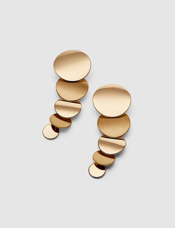 Dangling Disc Drop Earrings - Goldtone