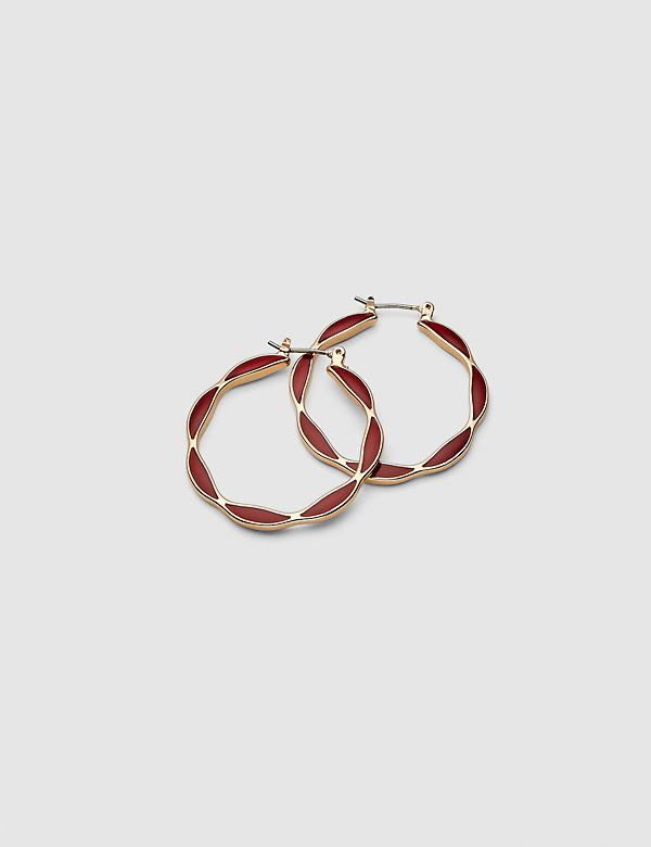 Enamel Scalloped-Edge Hoop Earrings - Red
