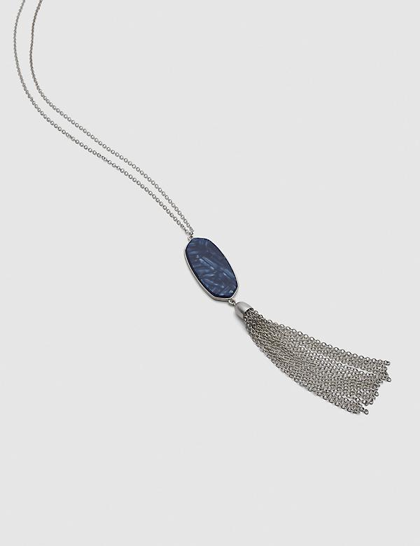 Geo Resin Pendant Tassel Necklace - Blue
