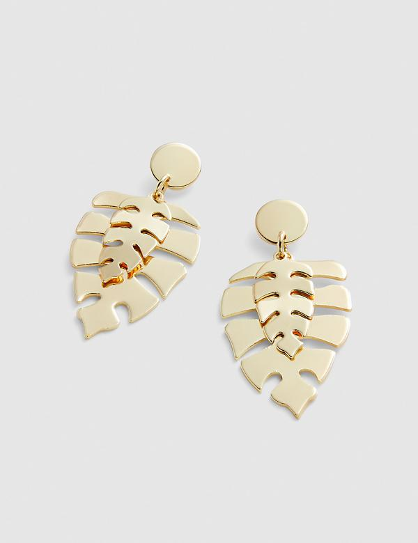 Tropical Double-Leaf Drop Earrings