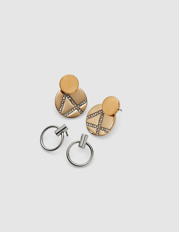 Convertible Mixed-Metal Geo Earrings - 2-Pack