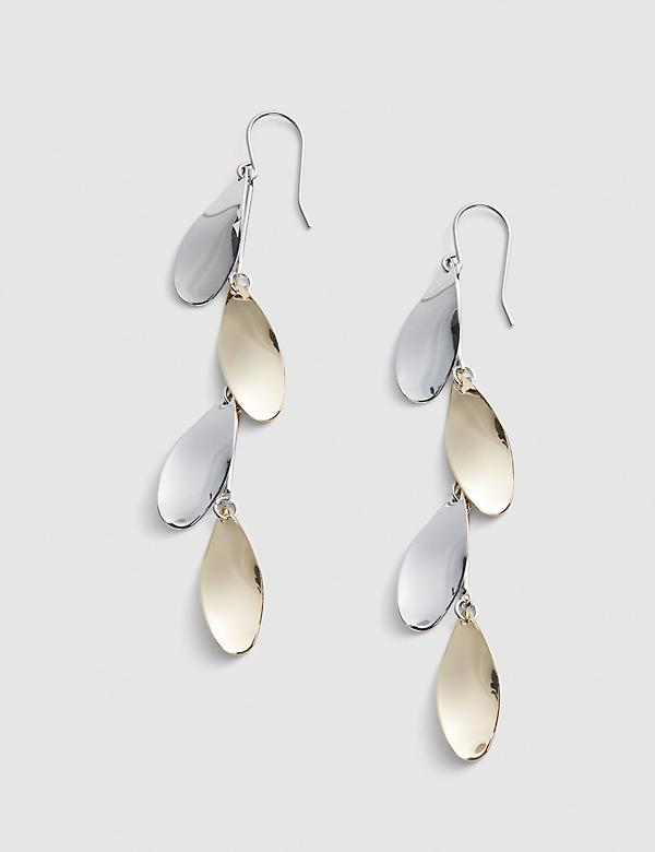 Two-Tone Layered Metal Drop Earrings