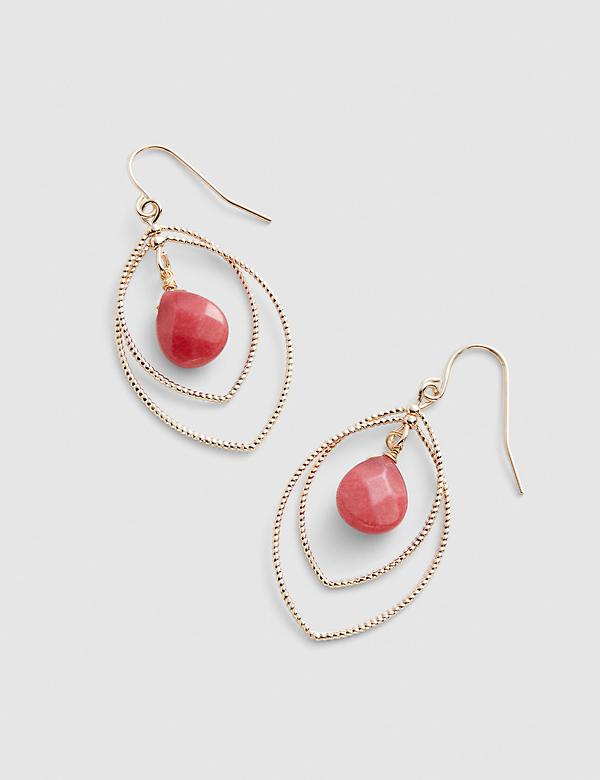Coral Stone Layered Drop Earrings