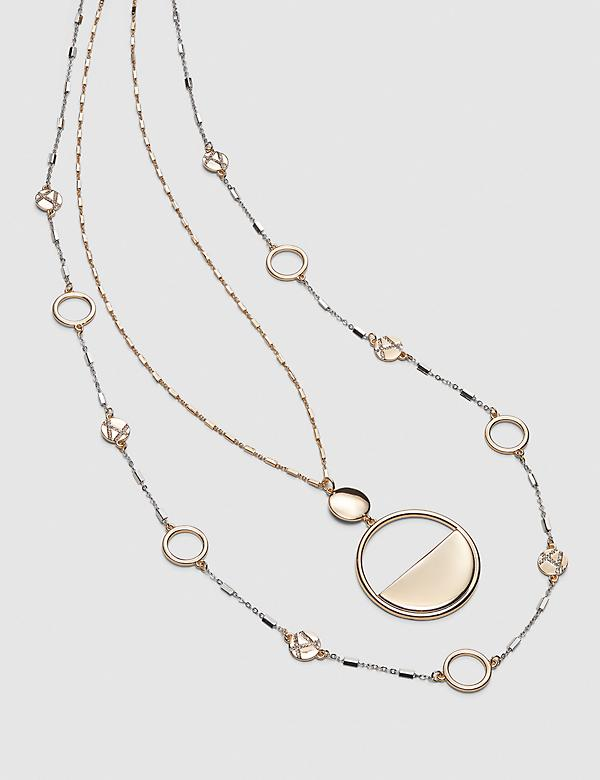 Convertible Mixed-Metal Geo Pendant Necklace