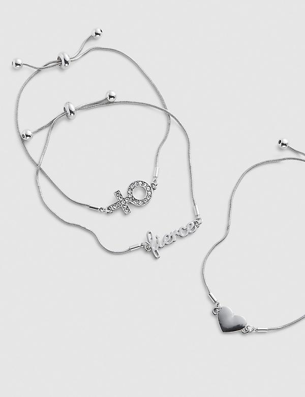 3-Row Heart & Boss Adjustable Bracelet Set