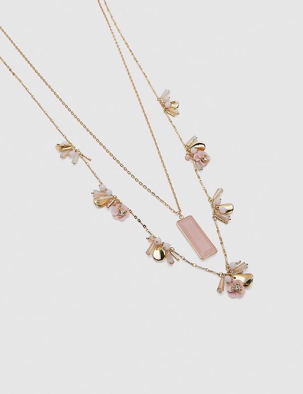 Convertible Layered Flower & Pendant Necklace