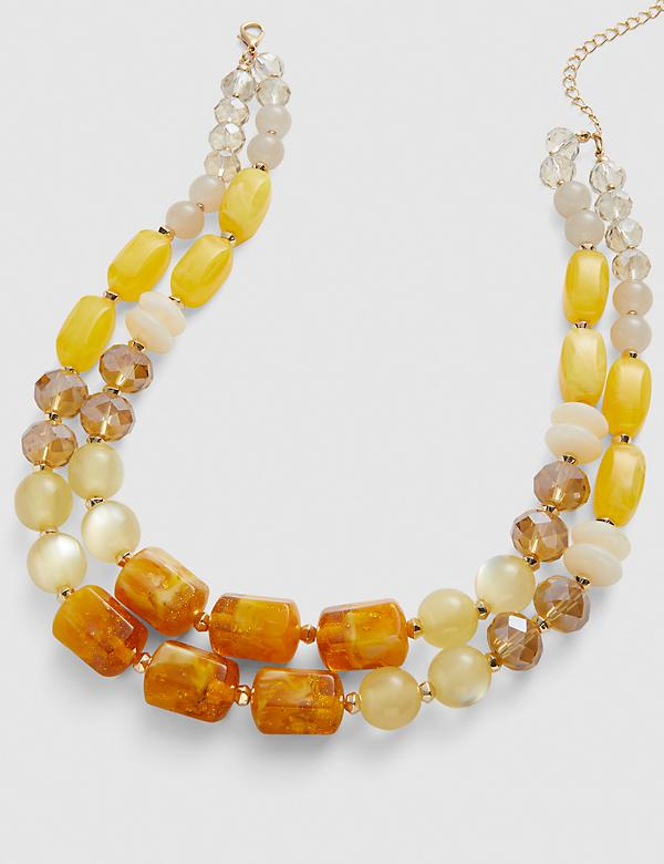 Double-Layer Beaded Necklace - Orange & Yellow
