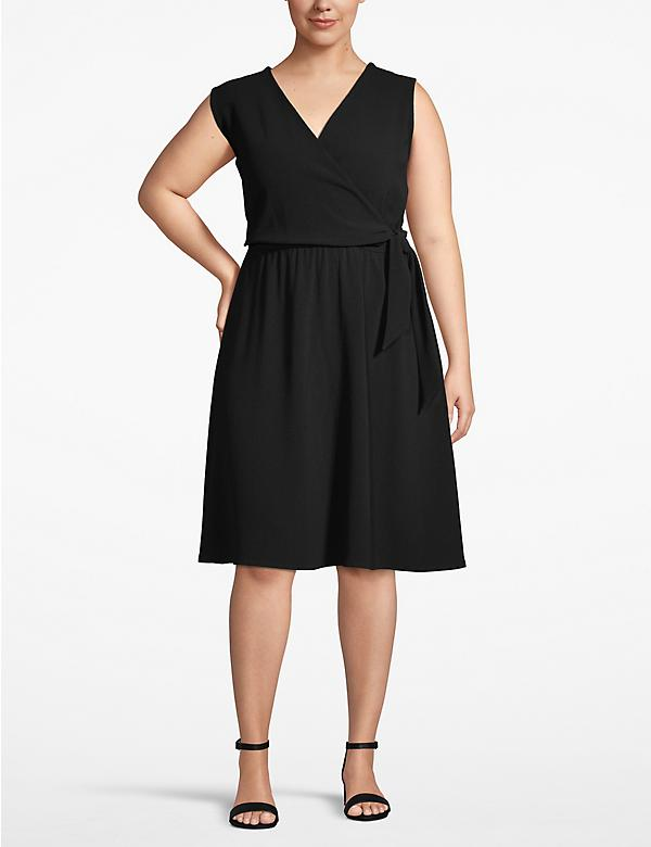 Textured Faux-Wrap Dress