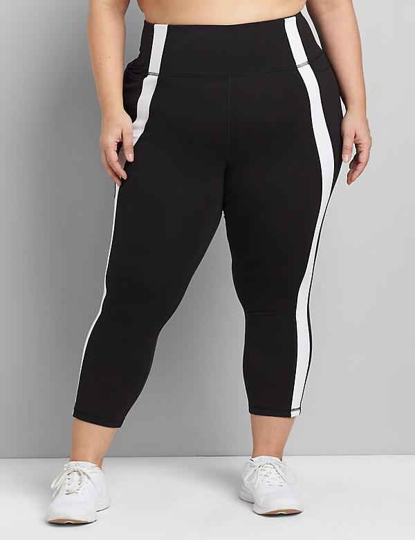 LIVI Capri Power Legging With Wicking - Striped Inset