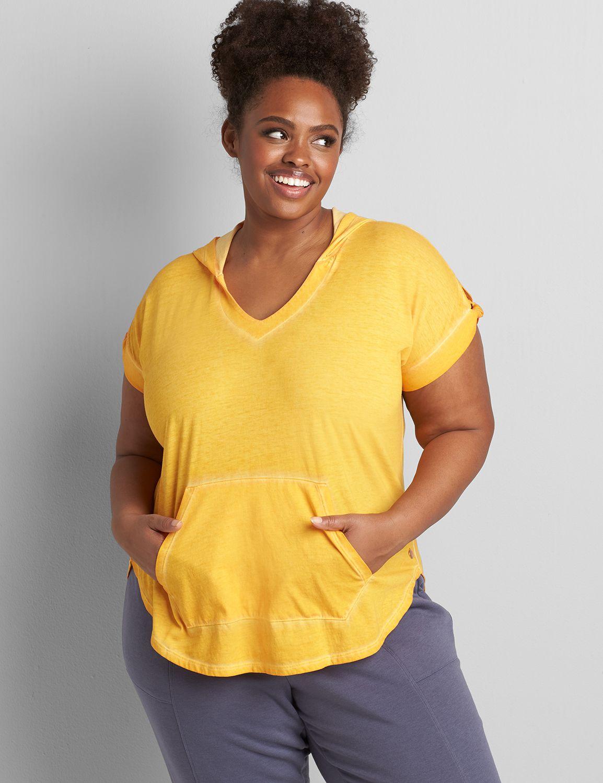Lane Bryant Women's Livi Knot-Sleeve Hooded Tunic 38/40 Artisan's Gold