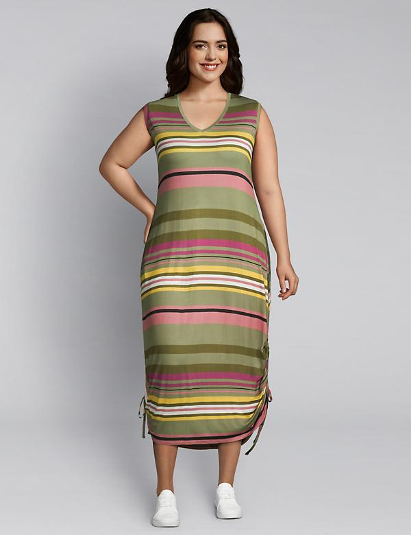 Striped Side-Tie Midi Dress