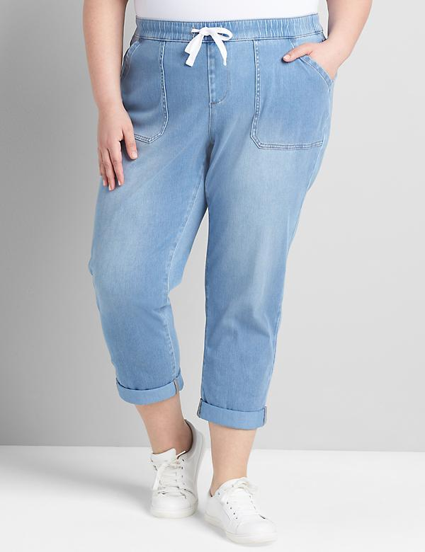 Pull-On Knit Denim Boyfriend Capri - Light Wash
