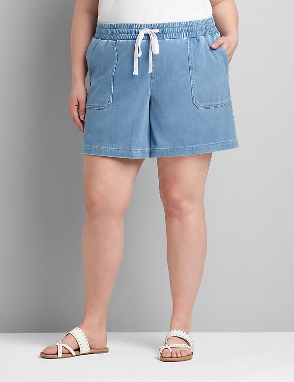Pull-On Knit Denim Boyfriend Midi Short - Light Wash