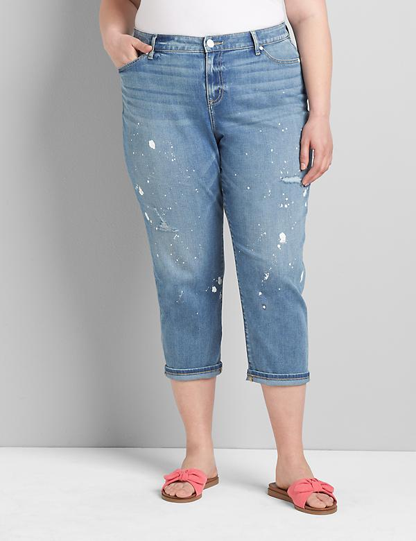 Signature Fit Boyfriend Capri Jean - Light Wash Paint Splatter