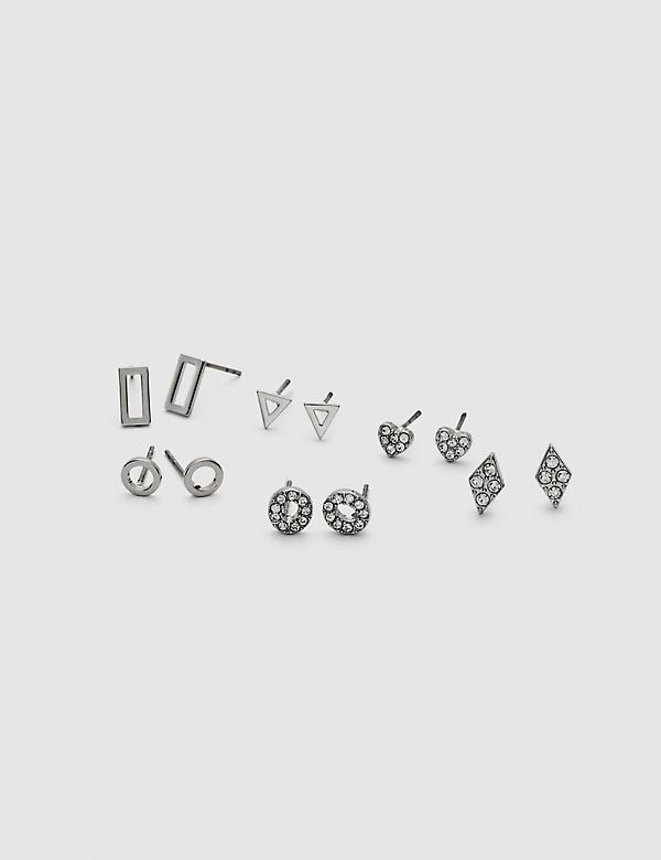 Pave-Embellished Stud Earrings - 6-Pack