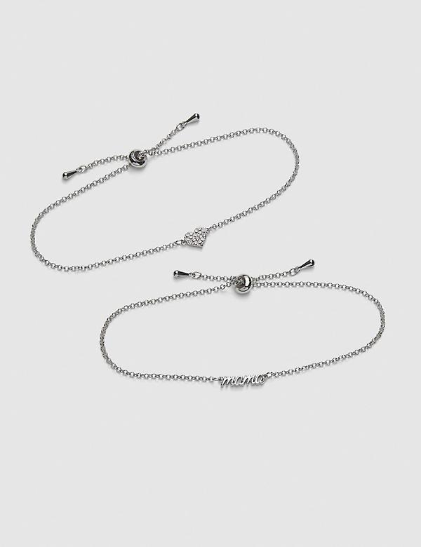 2-Row Mama & Pave Heart Adjustable Bracelet Set