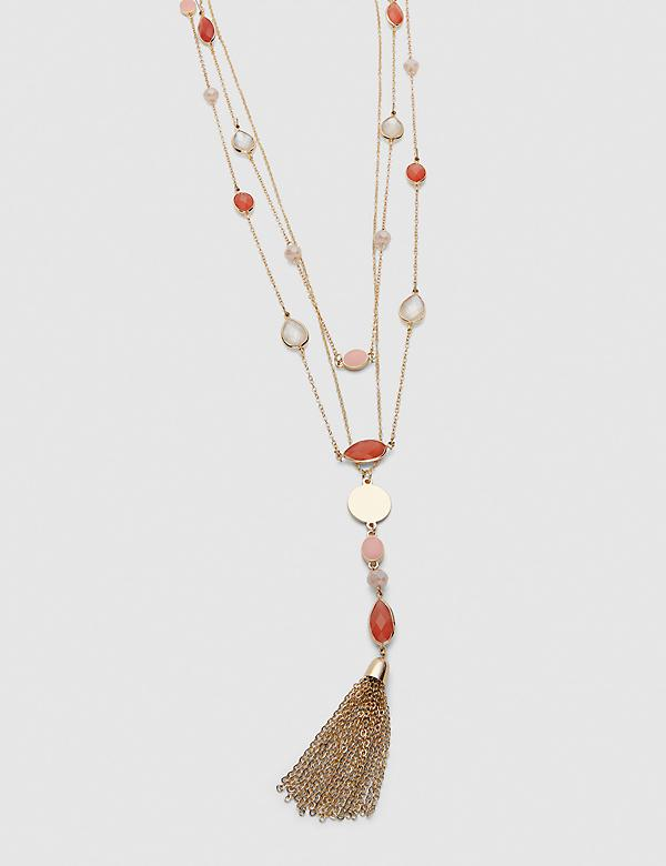 Convertible Multi-Layer Tassel Necklace - Coral
