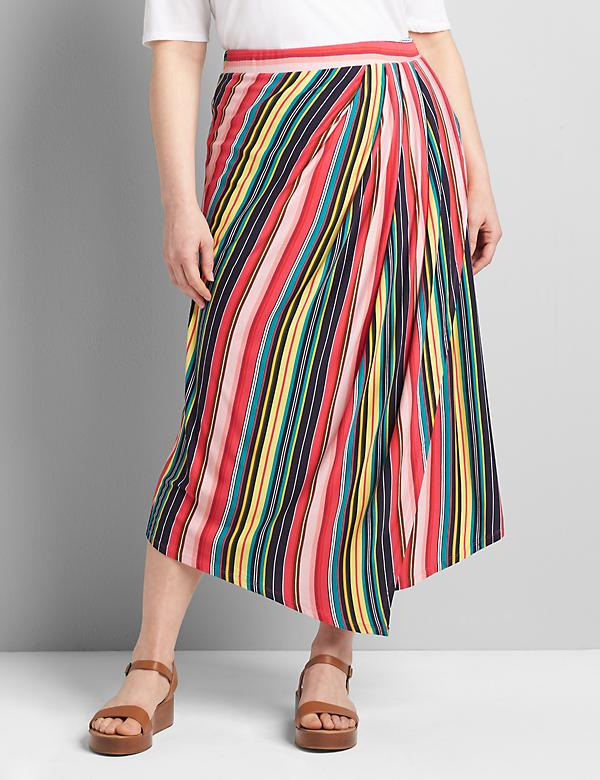 Asymmetrical Pull-On Midi Skirt