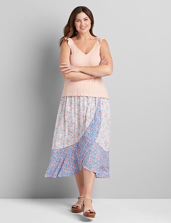 A-Line Faux Wrap Skirt