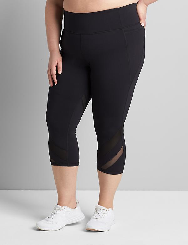 LIVI High-Rise Wicking Capri Legging - Mesh Hem