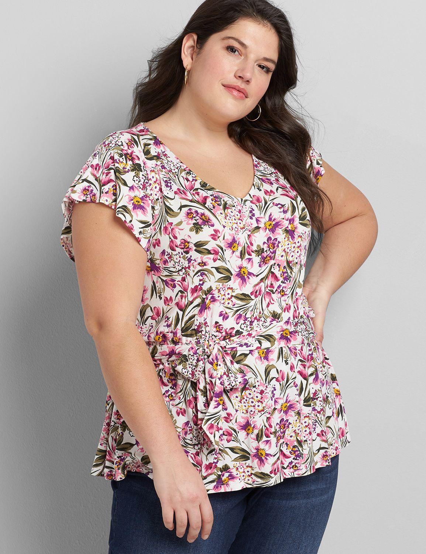 Lane Bryant Women's Flutter-Sleeve Belted Top 38/40 Evelyn Floral