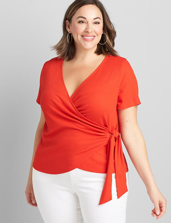 Crossover Wrap Textured Top