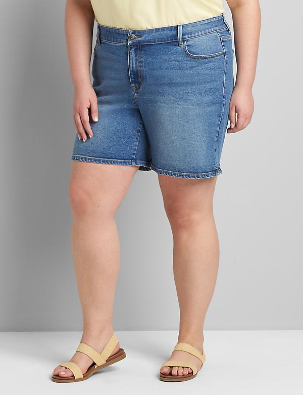 Lane Essentials Venezia Denim Boyfriend Midi Short - Medium Wash