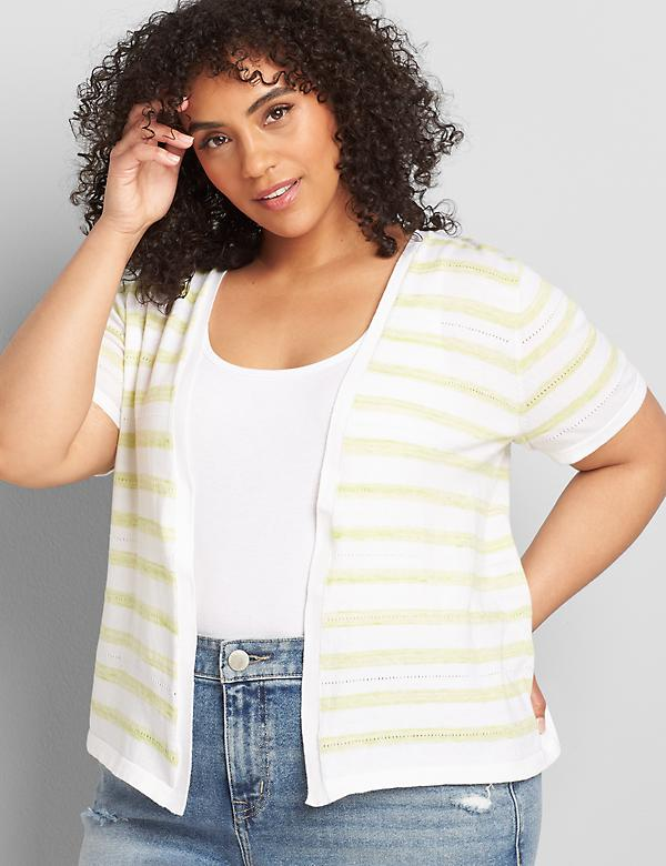 Striped Short-Sleeve Open-Front Cardigan
