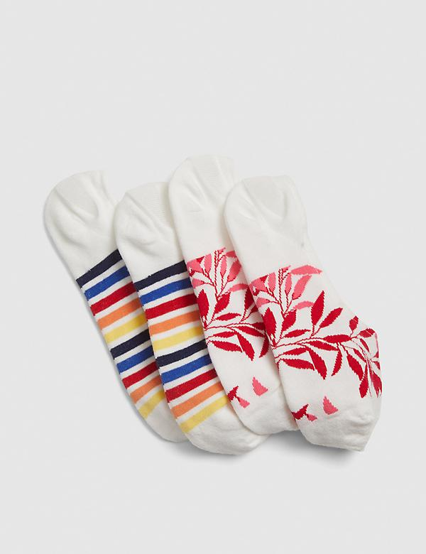 2-Pack No-Show Socks - Stripes & Flowers