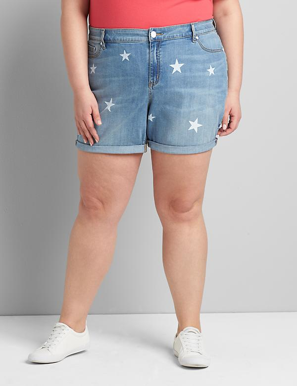 Signature Fit Denim Boyfriend Midi Short - Americana White Stars