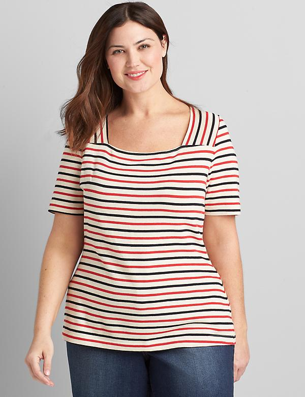 Striped Short-Sleeve Square-Neck Tee