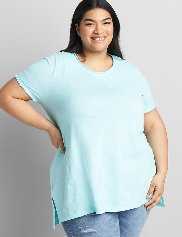Short-Sleeve Tunic with Raw Edge