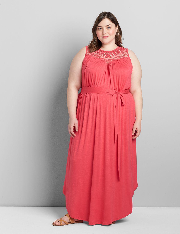 Lane Bryant Women's Crochet-Front Maxi Dress 14/16 Azalea